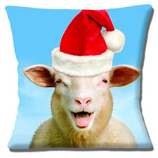 """Funny Sheep Laughing Close Up Santa Hat Photo Print 16"""" Pillow Cushion Cover"""