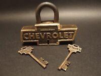 Antique Vintage Style Brass & Iron Trunk Chest Box Chevrolet Chevy Lock Padlock