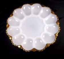 "Anchor Hocking milk glass 10"" round deviled egg plate gold border holds 12"