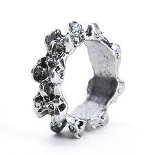 1x Men's Gothic Skull Charm Finger Ring Stainless Steel Punk Biker Jewelry N QZ