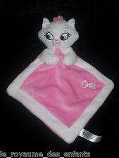Doudou losange Chat Marie Les Aristochats Disney Nicotoy blanc rose noeud brodé