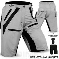 MTB Cycling Short Off Road Cycle CoolMax Padded Liner Shorts Grey/Black M to 2XL
