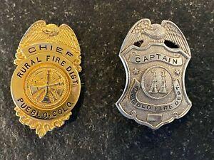 Pueblo, CO Fire Department Captain Badge & Chief Rural District Badges Obsolete