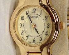 Seiko SXFL10 Vintag Lumibrite Gold Plate Stainles Bracelet Ladies Quartz Watch