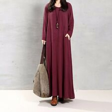 Women Long Sleeve V Neck Long Maxi Dress Oversized Kaftan Shirt Dress Plus Tops