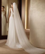 3M Women Ivory Creamy White Bride Bridal long Wedding head hair Veil with comb