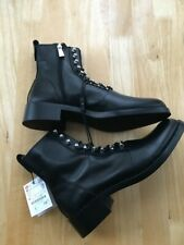ZARA Black Real Leather Studded Ankle Boots Size UK 8 EUR 41 US 10