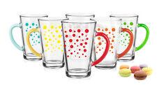 6 Latte Macchiato Gläser Mix 300ml Bunte Punkte Teeglas Kaffeegläser Milchkaffee