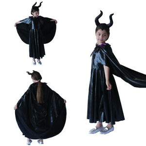 Evil Queen Fancy Dress Girl Maleficent Cosplay Costume Black Headwear and Cape