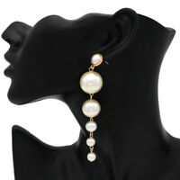 New Fashion Jewelry Women Pearl Long Dangle String Statement Earrings Party Gift