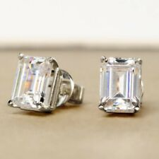 2.0 TCW Emerald Cut Solitaire DVVS1 Moissanite Earrings in 14K White Gold Plated