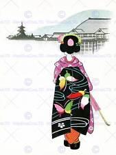 Cartolina Giappone Donna Geisha Ombrello PAGODA Villaggio art print poster cc933