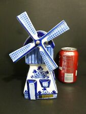 "Porcelain( Delft/Blue ) Musical Windmill Plays Tulips From Amsterdam 9"" H 8110"