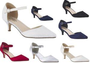 New Ladies Pointed Low Kitten Heel Satin Bridal Evening Wedding Prom Sandals 3-8