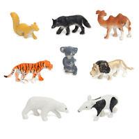 8PCS Plastic Zoo Animal Figure Tiger Leopard Hippo Kids Animal Toys Kids Gif NTS