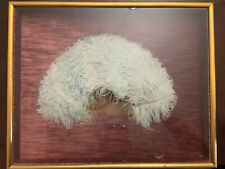 Framed Antique Victorian Lavender Ostrich Feather Hand Held Fan