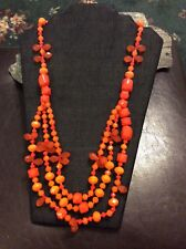 J Crew Factory Tangerine Geometric 3 Strand Lucite Necklace