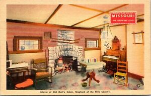 Linen Postcard Old Matt's Cabin Shepherd of the Hills Country Missouri~139505