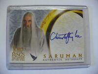 Lord of the Rings 'Christopher Lee as Saruman' Autograph Card by Topps ROTK