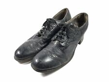 Antique 1920s Black Leather Lace Up Witch Shoes Vintage Gothic