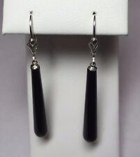 """Sterling Silver 1.40"""" Fancy Black Onyx Drop Fleur-de-Lis Leverback Earrings"""