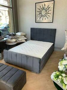 NEW LINEAR SARA CRUSHED VELVET UPHOLSTERED BED FRAME - VARIOUS COLOURS