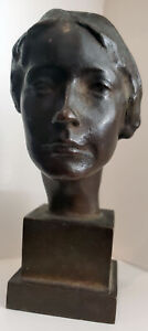 """RARE 1922 ROMAN BRONZE WORKS """"MASK OF A WOMAN"""" Victor Salvatore Signed & Dated"""