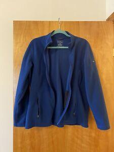 LL Bean Women's Regular Blue Full Zip Lightweight Fleece Sweater Jacket Large