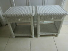 Wicker Rattan Nightstand One Drawer White Color Set Of Two