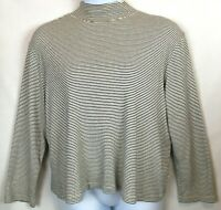 Jones Sport Mock Turtleneck 2X Ivory Black Stripe Long Sleeves Cotton Knit #1374