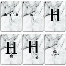 PERSONALISED GREY MARBLE MONOGRAMMED INITIALS CUSTOM CASE COVER FOR APPLE IPAD