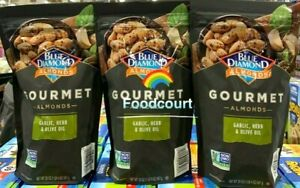 3 Packs Blue Diamond Garlic Herb Olive Oil Gourmet Almonds 20 oz Each Pack *NEW*