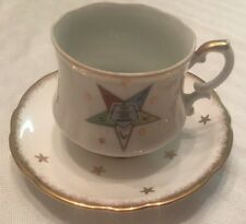 Order Of The Eastern Star Gold Trim Cup Saucer Tray OES Nice 3 pieces
