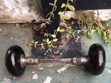 (2) Antique Black Ceramic Porcelain Door Knob Set w/ Spindle & Set Screws