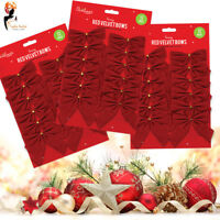 12 PACK RED VELVET BOWS Christmas Tree Decoration Present XMAS Craft
