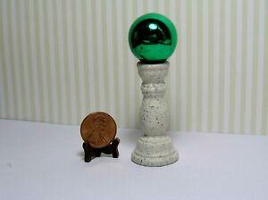 Miniature Dollhouse Green Gazing Ball on Light Speckled Textured  Base