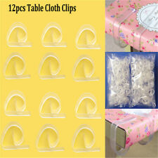 12pcs Clear 4 Table Cloth Clips Cover Secure Party Durable Holder Clamps  AY
