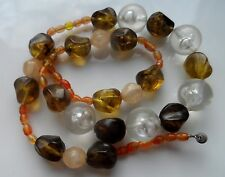 Vintage 50/60s Earthy Tone Early Plastic Lucite Necklace - 22inch