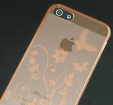 iPhone SE / 5 / 5S TPU Gel Case - Butterfly and Flowers - Orange