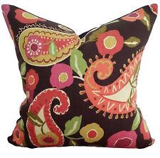 Marisol Designer Vintage Retro Paisley Cushion Pillow Cover Brown Pink Green