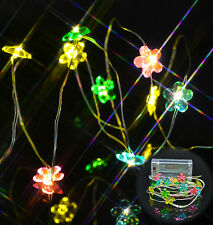 Battery Operated LED Flower Fairy Lights Multi Coloured Silver Wire Decoration