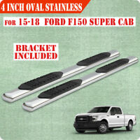 """For 2015-2020 Ford F150 Super Cab 4"""" Running Board Side Step Nerf Bar S/S Oval"""
