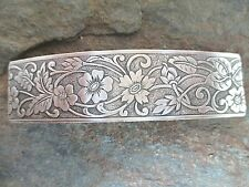 Antiqued Silver French Clip Brass Hair Barrette 80MM Clip  Made in USA 6045S