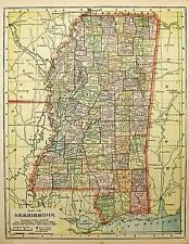 1900  MISSISSIPPI antique  color state map original authentic