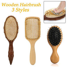 Natural Wooden Hair Brush Comb Oval Anti-static Paddle Scalp Meridian Massage