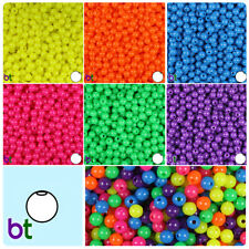 BeadTin Neon Bright 6mm Round Plastic Craft Beads (500pcs) - Color choice