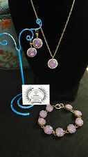 Catherine Popesco ~ Violet & White Swarvoski Necklace, Earrings & Bracelet set