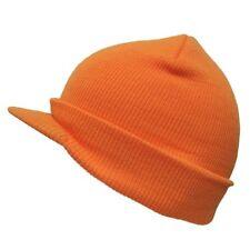 Neon Orange Solid Campus Visor Jeep Skull Knit Winter Beanie Cap Caps Hat Hats