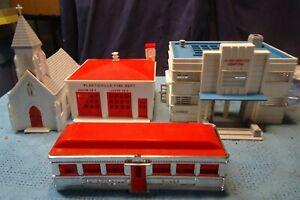 Plasticville O Scale Building House Lot Hospital, Dinner, Fire House & Church