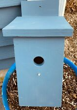 Solid Wood Hand Made Bird House Painted Blue No Perch Take a look!